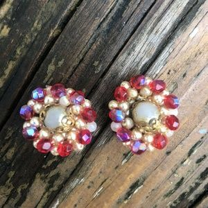 Vtg Red Gold Pearl Beads Clip On Earrings 50s 60s
